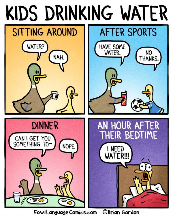 Kids Drinking Water Fowl Language Comics