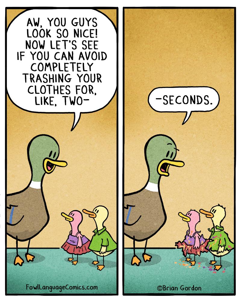 trashing their clothes   fowl language comics