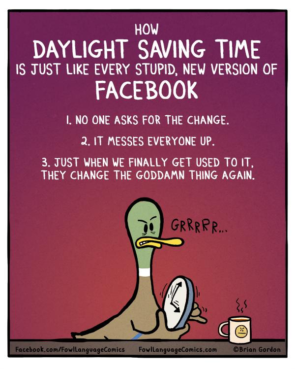 Funny Meme About Daylight Savings : Daylight saving time fowl language comics